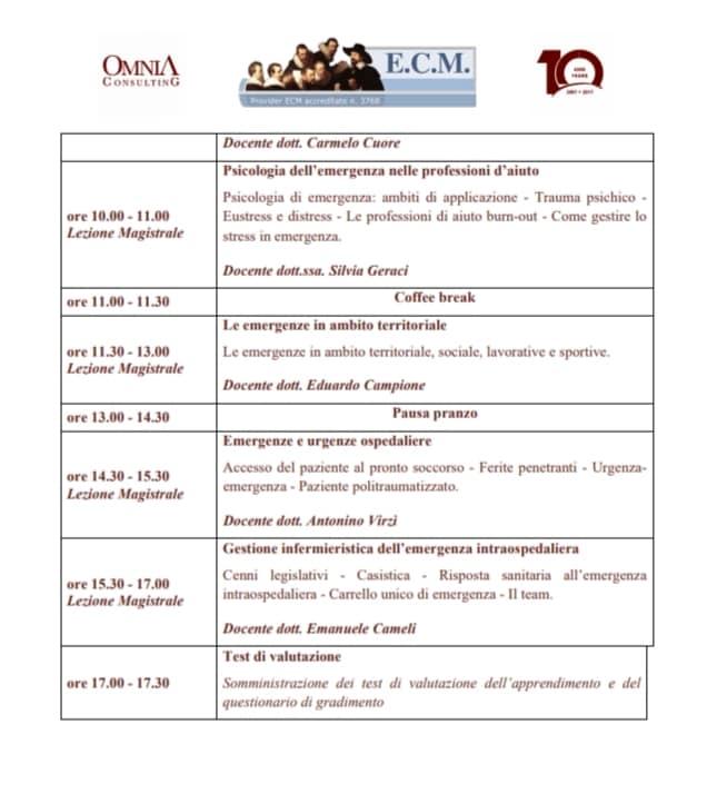 Gestione urgenze ed emergenze intraospedaliere, sul territorio e a domicilio: ruolo medico, infermieristico e OSS – 7,8 crediti ECM